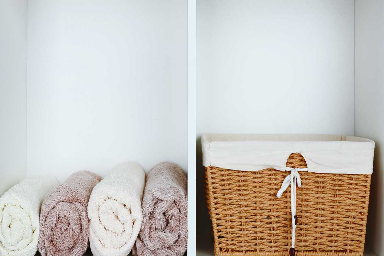 housekeepers fresh towels and wicker basket
